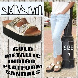 f145666fa204 Sixtyseven Shoes - Metallic Gold Indigo Platform Sandals